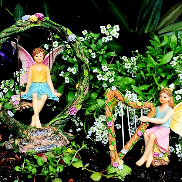 Fairy Garden Harp and Swing Set